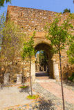 Ancient brick passageway door in the famous La Alcazaba in Malag Royalty Free Stock Photos