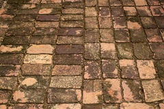 Ancient brick pavement. Brick pavement in ancient building construction ,Thailand Royalty Free Stock Images