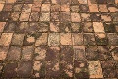 Ancient brick pavement Stock Photos