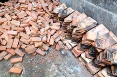 Ancient brick and roof tile royalty free stock photo