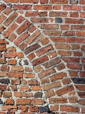 Ancient brick wall with arch. Old brick wall with arch - different colour bricks Royalty Free Stock Images
