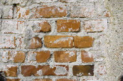 Ancient Brick Wall. Fragment of old brick wall with white stucco Stock Photography
