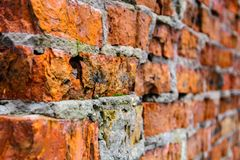 Ancient brick wall made of red-orange brick. Shattered surface. An abandoned house or an old factory. Royalty Free Stock Photo