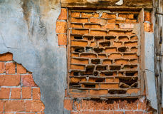 Ancient brick wall. Of old fractured decaying Stock Photo