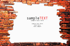 Ancient Brick Wall On White Background Royalty Free Stock Images