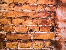 Ancient brick wall with plaster. Shabby surface of ancient masonry. royalty free stock photo