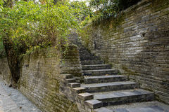 Ancient brick wall and steps in spring,Chengdu Royalty Free Stock Images