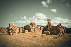 Ancient brick walls of crumbling buildings Royalty Free Stock Images