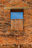 Ancient Brick Window Frame of an Ancient Thai Temple  in Ayutthaya, Thailand. An Ancient Brick Window Frame of an Ancient Thai Temple  in Ayutthaya, Thailand Stock Photography