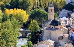Ancient bridge ande church in Alcala del Jucar royalty free stock photos