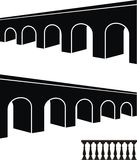 Ancient bridge black silhouettes and balustrade Stock Photos