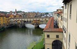 ancient bridge called Ponte Vecchio and Vasari Corridor in Flore Stock Photography
