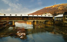 Ancient bridge captured in Lovech, Bulgaria royalty free stock photography