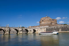 Ancient bridge and castle along river in Rome Royalty Free Stock Photos