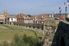 Ancient bridge, city Hospital de Obrigo , Spain. Spain, province of Leon, Autonomous region Castile and Leon, city, small town Hospital de Obrigo: still life of Royalty Free Stock Images