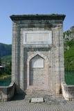 Ancient bridge on drina river. Famous historic bridge on drina river, visegrad city, bosnia and herzegovina stock photos