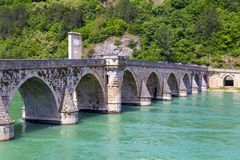 Ancient Bridge on the Drina river in Visegrad. Work Mehmed Pasha Sokolovic, constructed between 1571 and 1577 by architect Mimar Sinan, Bosnia and Herzegovina stock images