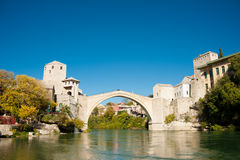 Ancient bridge over neretva river in Mostar Stock Photos