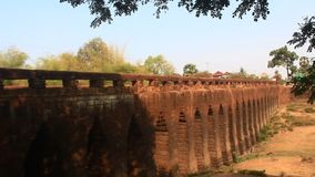 Ancient bridge over 1,000 years old in Cambodia stock video