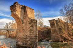 The ancient bridge at Ponte Novu, Corsica Stock Photography
