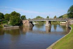 Ancient bridge on the river Porvoyoki, sunny august day. Porvoo, Finland Stock Photo