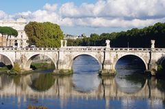 Ancient bridge in Rome, Italy Stock Photos