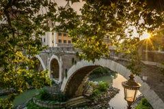 Ancient bridge in Rome Italy Stock Photos