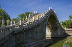 The ancient bridge ,summer palace ,beijing. The ancient marble and stone arch bridge Stock Image