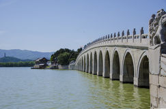 The ancient bridge ,summer palace ,beijing. The ancient marble and stone arch bridge Stock Photos