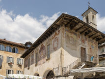 Ancient Broletto frescos at Orta san Giulio, Italy Stock Images