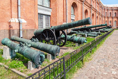 Ancient bronze cannons in Museum of Artillery  in St. Petersburg Royalty Free Stock Photos