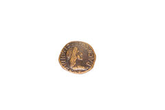 Ancient bronze coin with a portrait of the emperor Royalty Free Stock Images