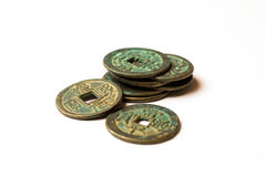 Ancient bronze coins of China on white Royalty Free Stock Image