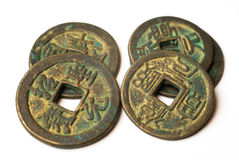 Ancient bronze coins of China on white Royalty Free Stock Images