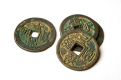 Ancient bronze coins of China on white Stock Photo