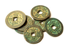 Ancient bronze coins of China on white Royalty Free Stock Photography