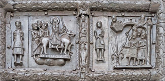 Ancient bronze gates with scenes from the Bible Stock Images