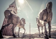 Free Ancient Bronze Horses On St Mark`s Square In Venice Stock Image - 108148541