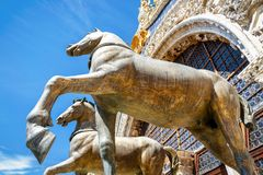 Bronze horses of St Mark`s Basilica over the Saint Mark`s Square stock photo