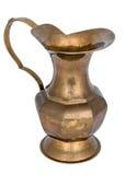 Ancient bronze jug. Isolated on white background stock photo