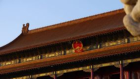 Ancient bronze lion in front of forbidden City at dusk,China Political center. stock video footage