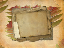 Ancient brown background with set old paper. Abstract ancient brown background with set old paper in scrap booking style Stock Photo