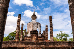 Ancient Budddha statue in Sukhothai from back Stock Photos