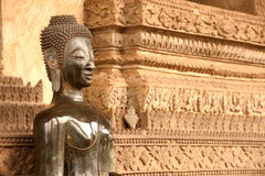 Ancient Buddha on the  Church in Hor Phakaeo Temple, Laos . Royalty Free Stock Photo