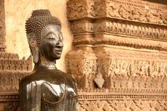 Ancient Buddha on the  Church in Hor Phakaeo Temple, Laos . Stock Photography