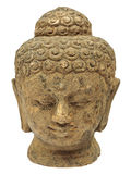 Ancient Buddha face isolated on white Royalty Free Stock Photography