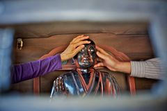 Ancient buddha head in kofukuji temple in nara, japan Royalty Free Stock Images