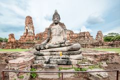 Ancient Buddha. Image, Ayutthaya Province, Thailand Stock Image