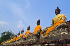 Ancient buddha image line up Royalty Free Stock Image