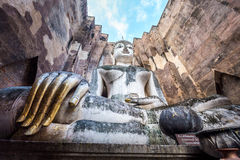 Ancient buddha image statue at Wat Sri Chum Sukhothai historical park Stock Photos